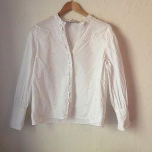 ZARA BASICS white buttonup blouse sequins detail L